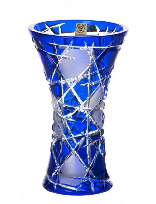 Krištáľová váza Mars, farba modrá, výška 205 mm