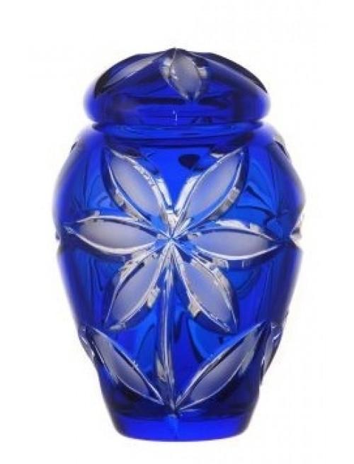 Krištáľová urna Linda mat, farba modrá, veľkosť 120 mm
