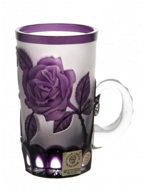 Krištáľový hrnček Ruže, farba fialová, objem 100 ml
