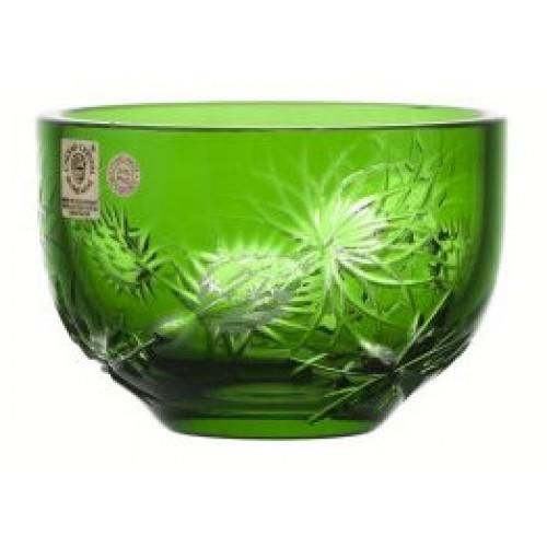 Krištáľová miska Thistle, farba zelená, priemer 110 mm