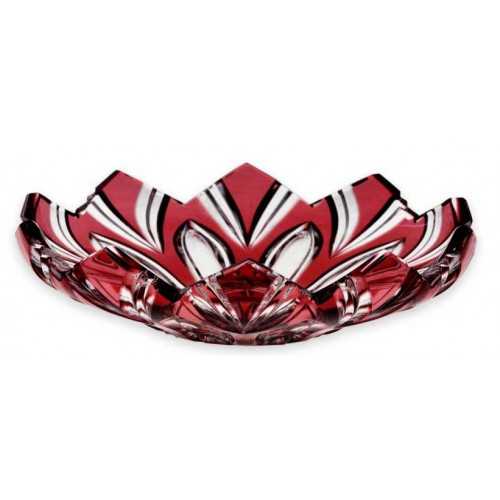 Krištáľový tanier Lotos tm., farba rubínová, priemer 144 mm