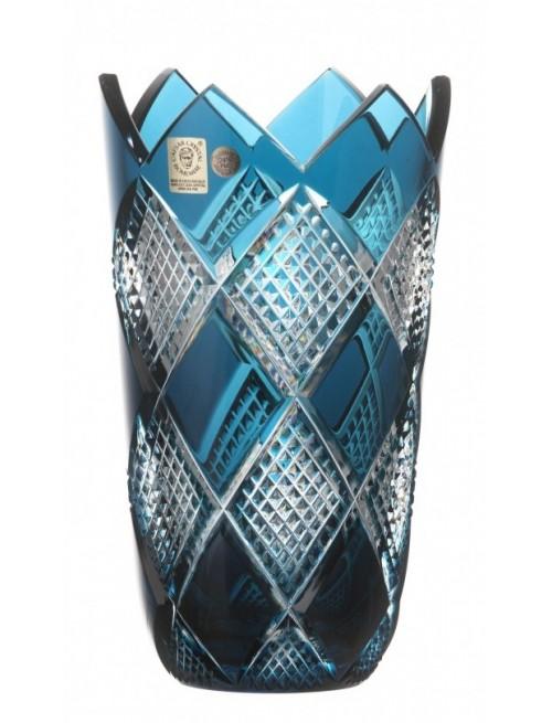 Krištáľová váza Colombine, farba azúrová, výška 255 mm