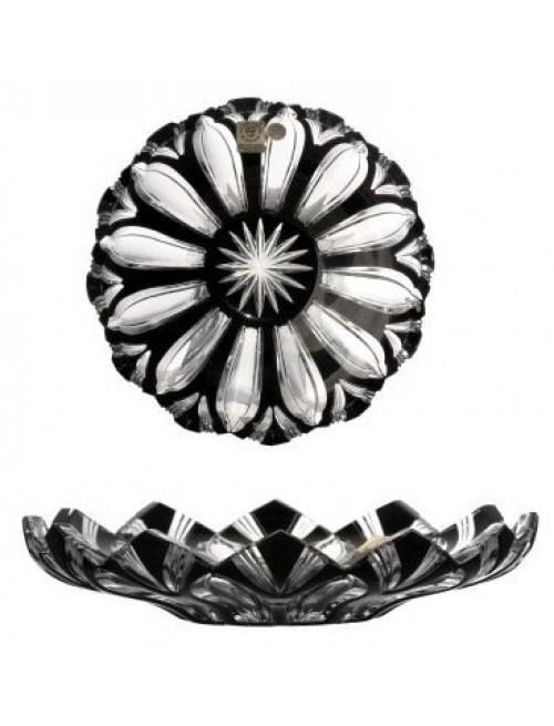 Krištáľový tanier Lotos, farba čierna, priemer 180 mm