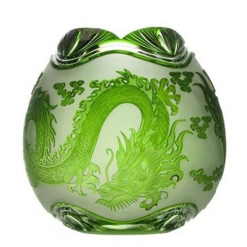 Krištáľová váza Drak, farba zelená, výška 280 mm