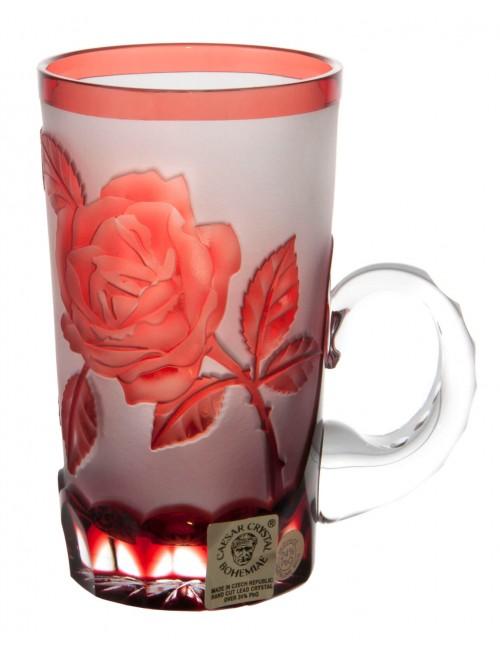 Krištáľový hrnček Ruže, farba rubínová, objem 100 ml
