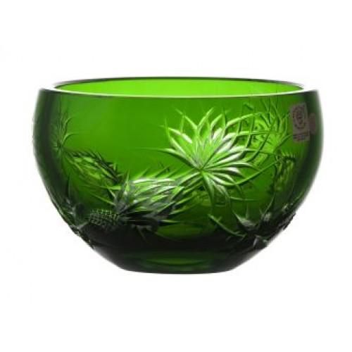 Krištáľová miska Thistle, farba zelená, priemer 140 mm