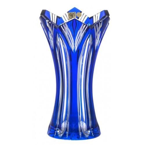 Krištáľová váza Lotos, farba modrá, výška 230 mm