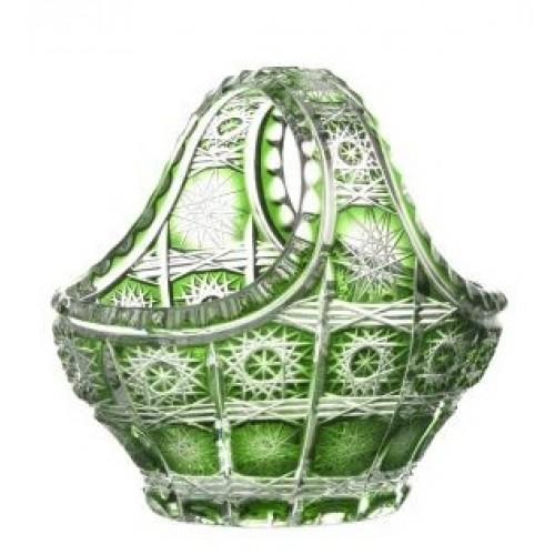Krištáľový kôš Paula, farba zelená, priemer 150 mm