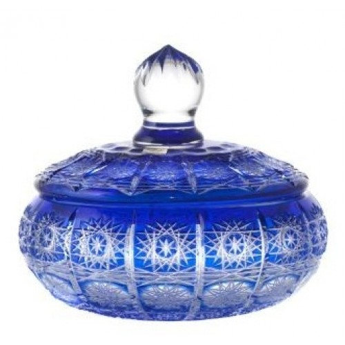 Krištáľová dóza Paula, farba modrá, výška 195 mm