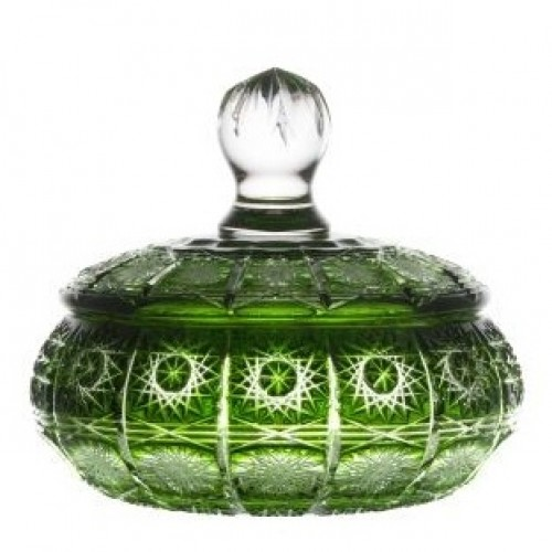 Krištáľová dóza Paula, farba zelená, výška 195 mm