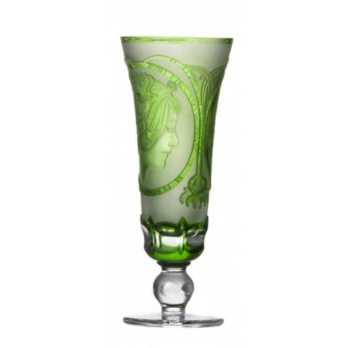 Krištáľová flauta Mucha, farba zelená, objem 150 ml