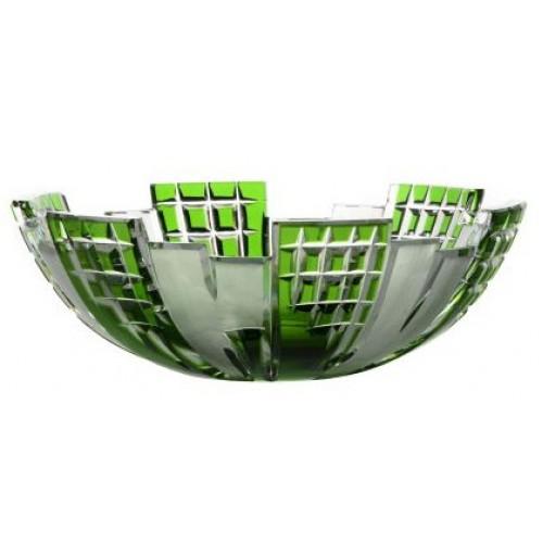Krištáľová misa Metropolis, farba zelená, priemer 180 mm