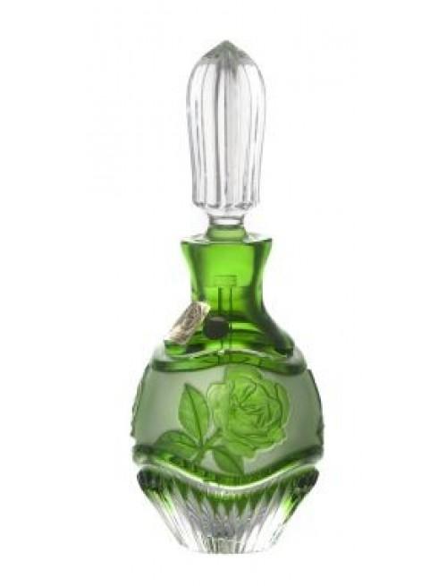 Krištaľový flakon Ruža+maz., farba zelená, objem 130 mm