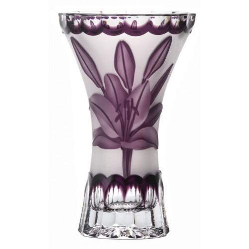 Krištáľová váza Ľalia, farba fialová, výška 155 mm