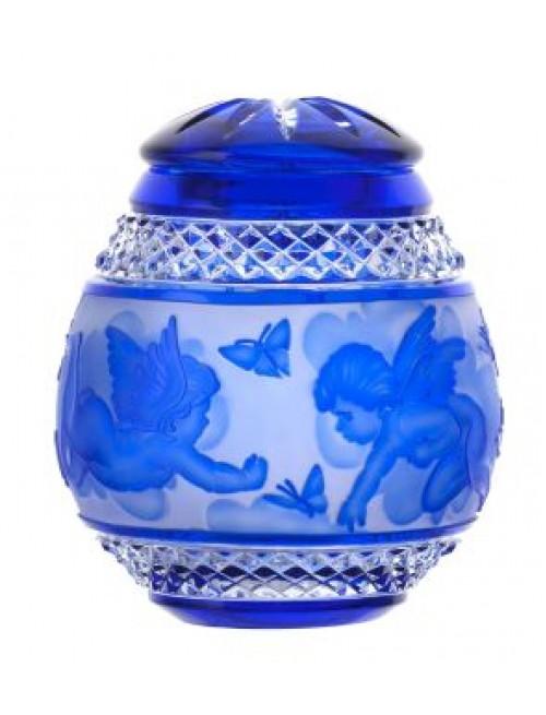 Krištáľová urna Anjel, farba modrá, výška 145 mm
