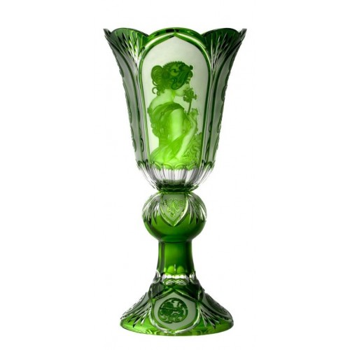 Krištáľová váza Mucha, farba zelená, výška 505 mm