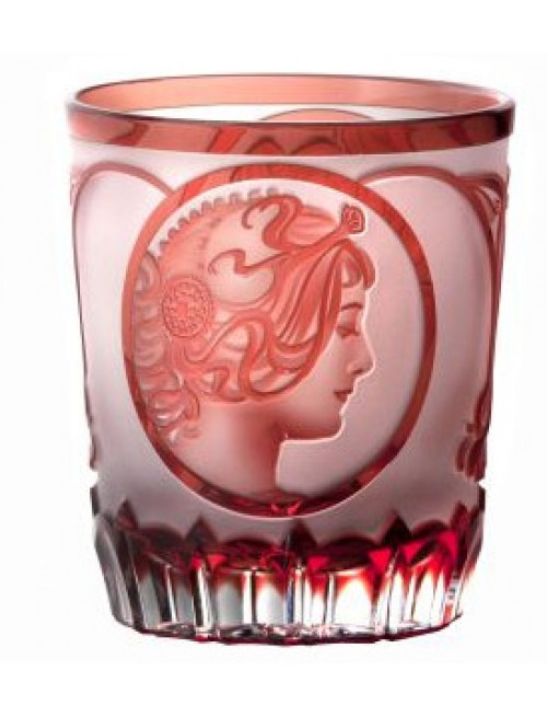 Krištáľový pohár Mucha, farba rubínová, objem 290 ml
