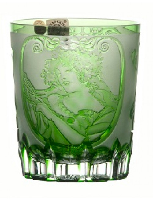 Krištáľový pohár Mucha, farba zelená, objem 290 ml