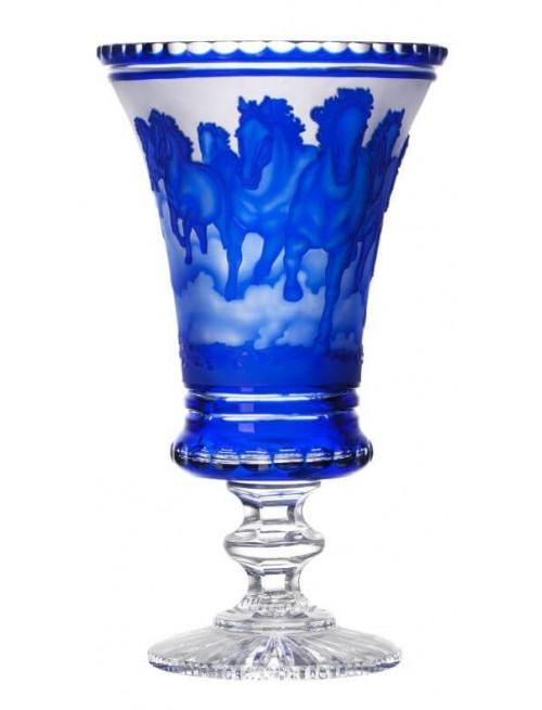 Krištáľová váza bežiace kone spredu-stádo, farba modrá, výška 475 mm