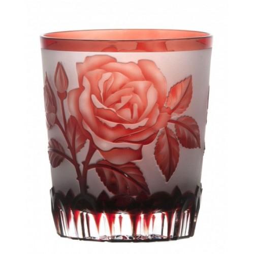 Krištáľový pohár Ruža, farba rubín, objem 290 ml
