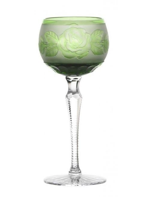 Krištáľový pohár na víno Ruža - kvet, farba zelená, objem 190 ml