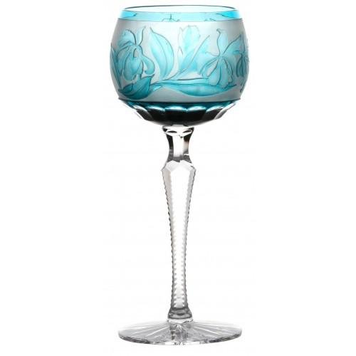 Krištáľový pohár na víno Kosatec, farba azúrová, objem 190 ml