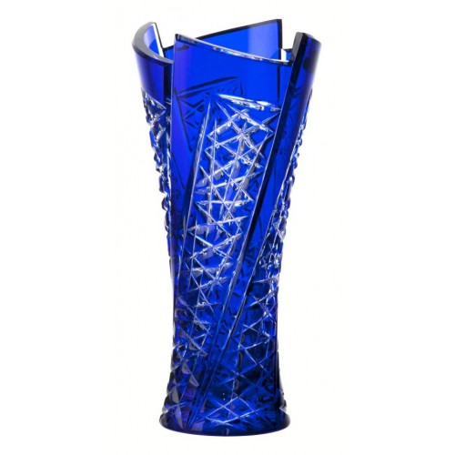 Krištáľová váza Fan, farba modrá, výška 310 mm