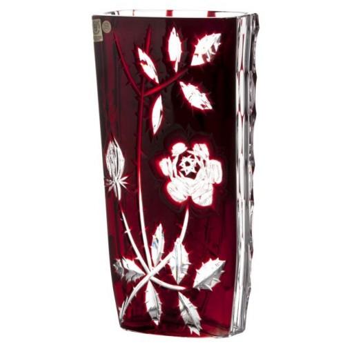 Krištáľová váza Ruža, farba rubínová, výška 255 mm