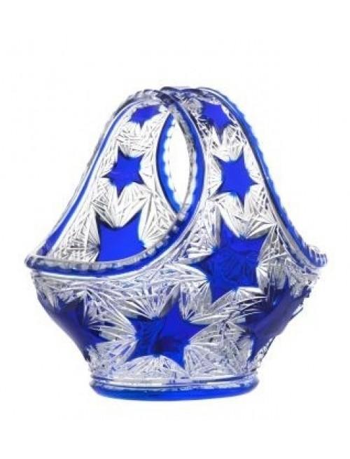Krištáľový kôš Stella, farba modrá, priemer 255 mm
