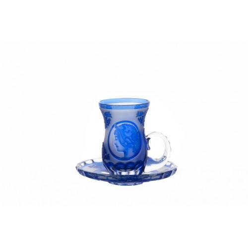 Krištáľový set Mucha 2+2, farba modrá, objem 100 ml