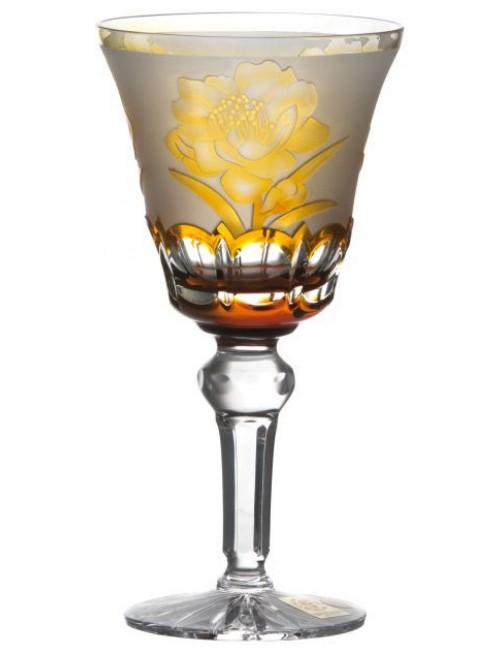 Krištáľový pohár na víno Sakura, farba jantárová, objem 180 ml