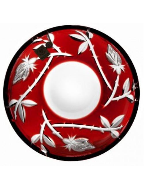 Krištáľový tanier Ruža, farba rubínová, priemer 180 mm