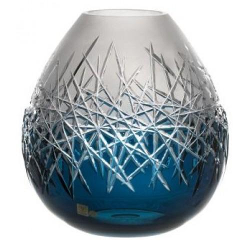 Krištáľová váza Hoarfrost, farba azúrová, výška 280 mm