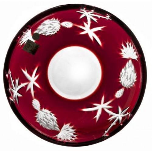 Krištáľový tanier Thistle, farba rubínová, priemer 181 mm