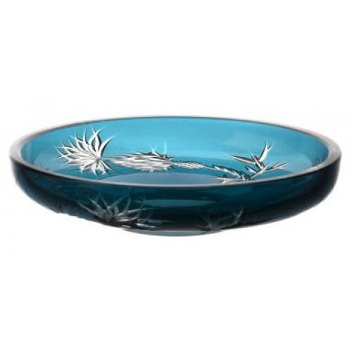 Krištáľový tanier Thistle, farba azúrová, priemer 181 mm