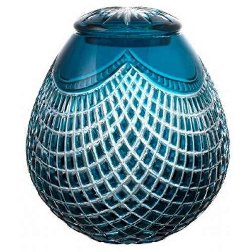 Krištáľová urna Quadrus, farba azúrová, výška 230 mm