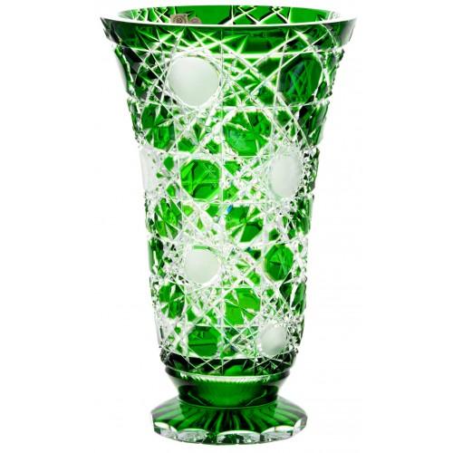 Krištáľová váza Flake, farba zelená, výška 305 mm