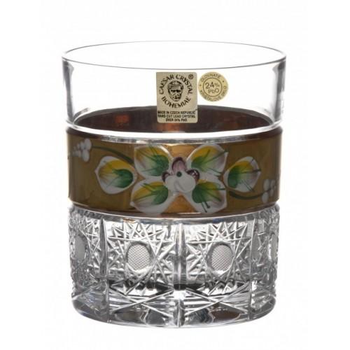 Krištáľový pohár Whisky zlato, farba číry krištáľ, objem 320 ml