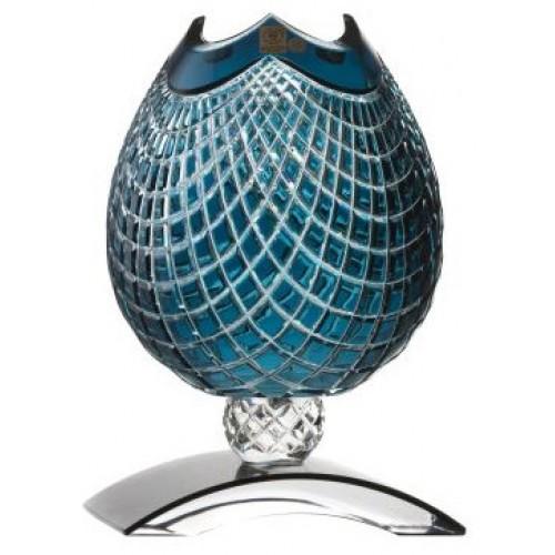 Krištáľová váza Quadrus, farba azúrová, výška 181 mm