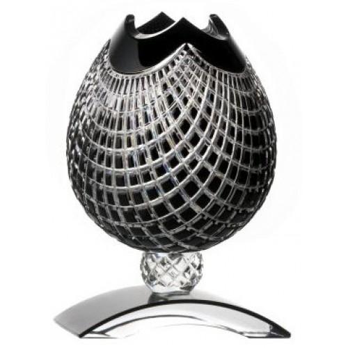 Krištáľová váza Quadrus, farba čierna, výška 181 mm