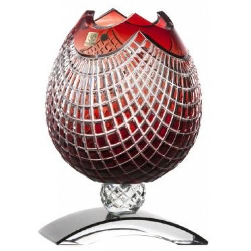 Krištáľová váza Quadrus, farba rubínová, výška 181 mm