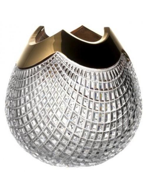 Krištáľová váza Quadrus zlato, farba číry krištáľ, výška 250 mm
