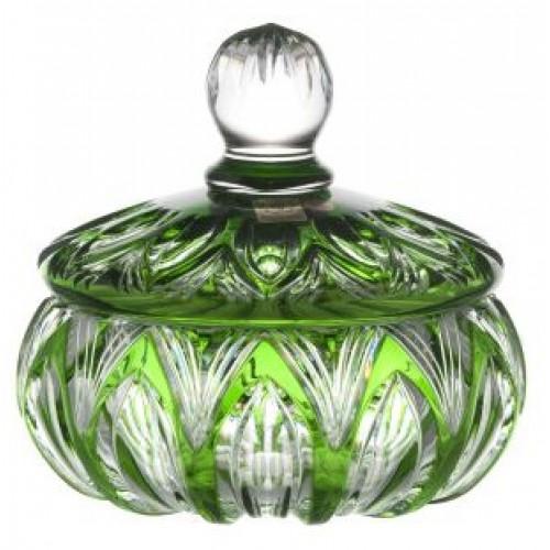 Krištáľová dóza Lotos, farba zelená, výška 165 mm