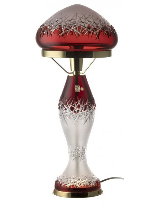 Krištáľová lampa Hoarfrost, farba rubínová, výška 475 mm