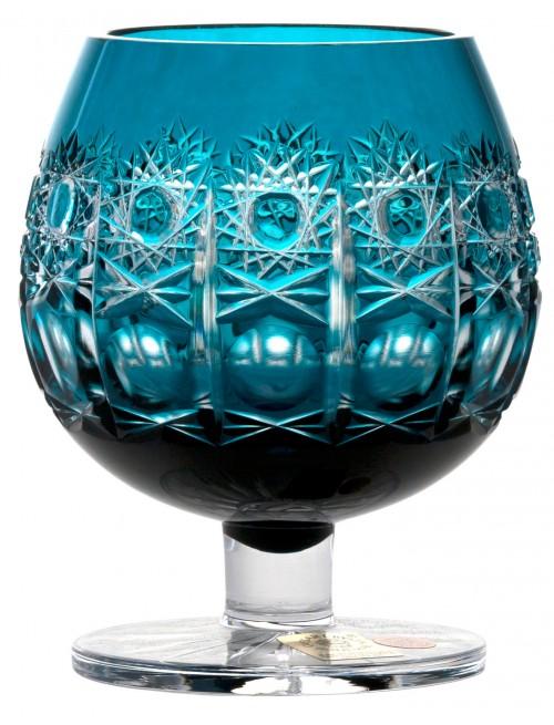 Krištáľový pohár Brandy Petra, farba azúrová, objem 300 ml