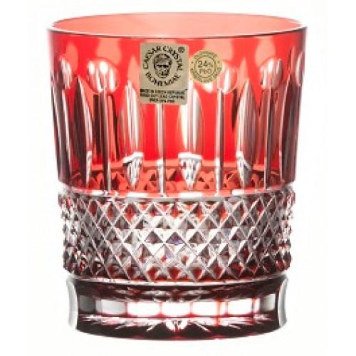Krištáľový pohár Tomy, farba rubínová, objem 290 ml