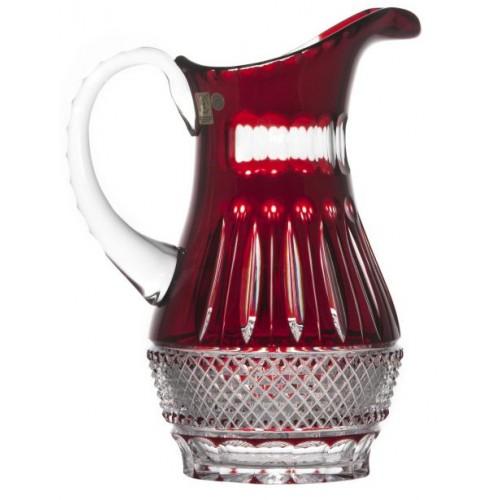 Krištáľový džbán Tomy, farba rubínová, objem 1300 ml