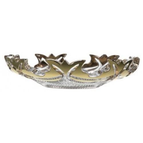 Krištáľový tanier Diadem zlato, farba číry krištáľ, priemer 145 mm