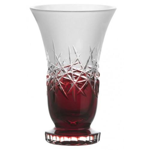 Krištáľová váza Hoarfrost, farba rubínová, výška 205 mm