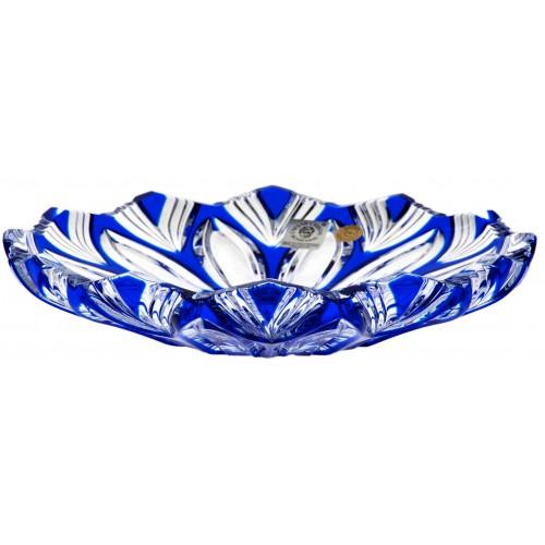 Krištáľový tanier Lotos, farba modrá, priemer 180 mm